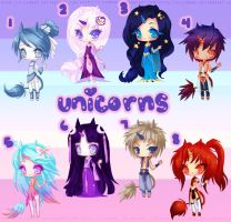 Space Unicorn Adoptables {CLOSED} by LittleRueKitty