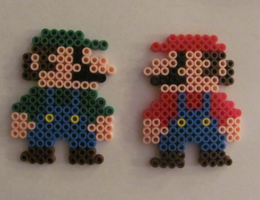 Mario and Luigi Perler Beads by x-Shayla-x