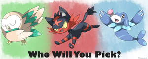 Rowlet, Litten and Poppilo by Phatmon