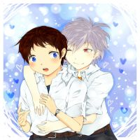 Shinji and Kaworu by Kechuppika
