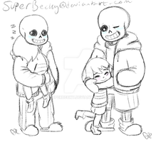 Sans and Frisk Fluff Sketches by SuperBecky