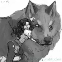 commission. Ivy and the Warg by kiikii-sempai