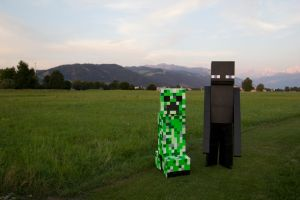 Creeper and Enderman Cosplay by dark-zero-mousy