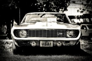Camaro 1969 HDR-Black and white by RockRiderZ