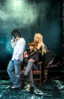 Death Note L + Light +  Misa by umibe