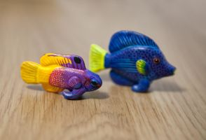 Tropical fishes, polymer clay by lifedancecreations