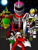 Inuyasha and Power Rangers (Fanposter) by streetgals9000