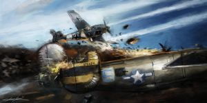 World War 2: B24 Sans Souci 'Taran attack' New by VitoSs