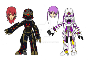 Nasod Battle Suit Overdrive: Elsword and Aisha by GameBoy224