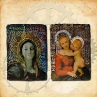 Steampunk Madonnas ATCs by hogret