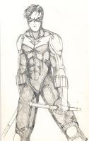 Nightwing pencil sketch by ImBillPardy
