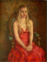 Girl in red dress..oil on linen by xxaihxx