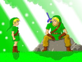 Young Link meets adult Link -Colored- by DahamiTheFifth