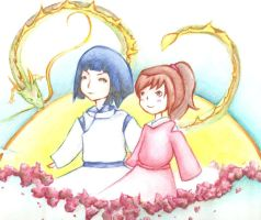 Haku and Chihiro by ClassicalNocturne