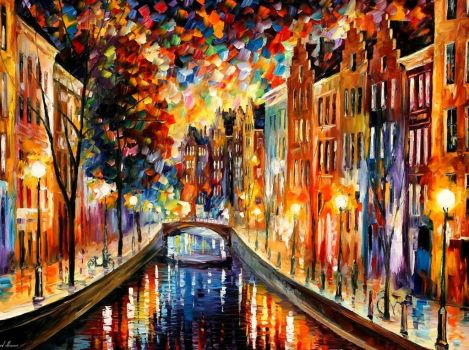 Amsterdam  Night Canal by Leonid Afremov by Leonidafremov