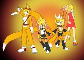 Cream, Kagamine with a bit of Tails on top. by Skye-Izumi