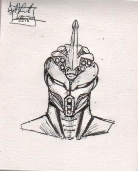 guyver unit (ball point pen sketch) by Dconway