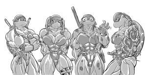 Mutant female ninja turtles by blackkheart