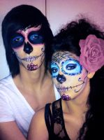mexican skull hell and heaven by CharlotteVT