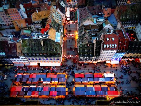 Tiny Colorful Huts  - Xmas Market from the Sky by Cloudwhisperer67