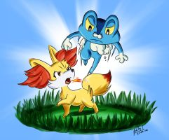 Fennekin VS Froakie Contest Entry by DavidGongora