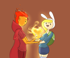 Flame Prince and Fionna by AdventureWoot