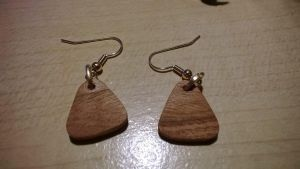 Guitar Pick Wood Earrings by zookinator-hedgie