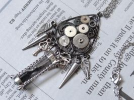 Steampunk sands of time necklace by Hiddendemon-666
