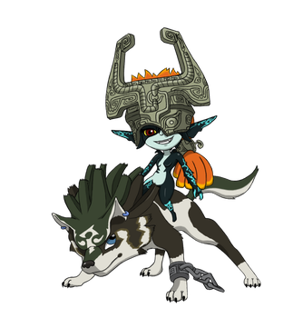 Wolf Link and Midna chibi's by equilibrik