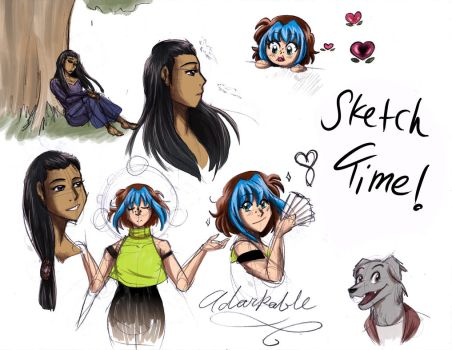 Raven and Kylie Sketches by ShadowPuppetteer