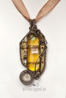Fused glass steampunk pendant by ukapala
