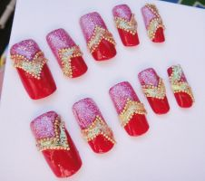 CUTE RED BEADS ELEGANT NAILS by jadelushdesigns