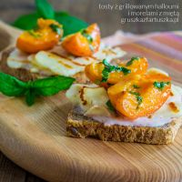 toast with grilled halloumi, apricot and mint by Pokakulka