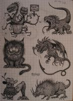 My small sketchbook - page four: more monsters by NenadJones