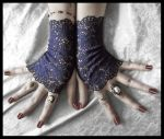Navy Lace Fingerless Gloves by ZenAndCoffee