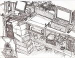 Work Desk - Pen Drawing by King-Hauken