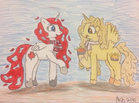 Canadian Princesses In The Fall  by ArtisticAshGamer