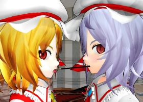 Remilia and Flandre Pocky Game by Saido-kun
