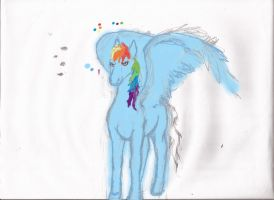rainbow dash standing colorized progress by Pwnyville