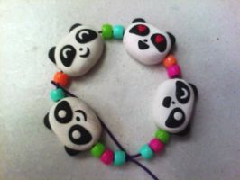 Panda Expressions Clay Bracelet by lemon-stockings