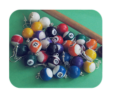 billiard ball earrings by BadgersBakery