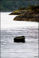 Boat in Sound of Mull by jayvoh