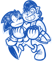 Sketch Comm - Sonic and Buff Sally by JamesmanTheRegenold