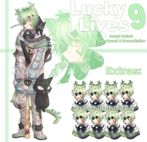Lucky 9 Lives Collab Adopt (Closed) by AQUA-Bunni