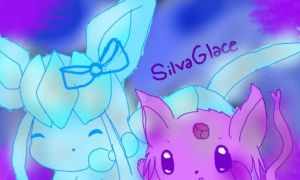 Glaceon And Espeon Cuddling~Request by silvaglace