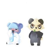 Cubchoo and Pancham by CrownCake
