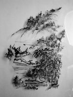 Drawing on one side of a table lamp by in2ni