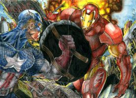 Captain America vs Iron Man 4 by DKuang