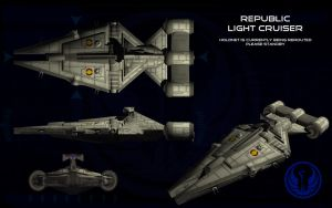 Republic Arquitens Light Cruiser ortho by unusualsuspex