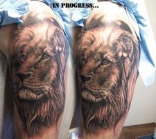 Realistic lion tat in progress by ellegottzi